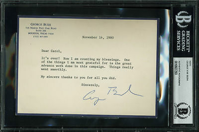 George H.W. Bush Authentic Signed 4.5x6.35 Note Dated Nov 14, 1980 BAS Slabbed