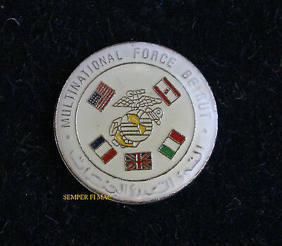 Authentic Us Marines Multinational Force Beirut Hat Pin 32Nd Mau Blt 1/8 Reagan
