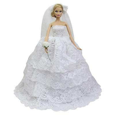 Handmade Princess Wedding Party Dress Clothes Gown + Veil Flower For 11.5 Doll