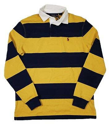 Polo Ralph Lauren Men's Yellow/Navy Stripe Iconic Rugby Classic Fit Polo Shirt