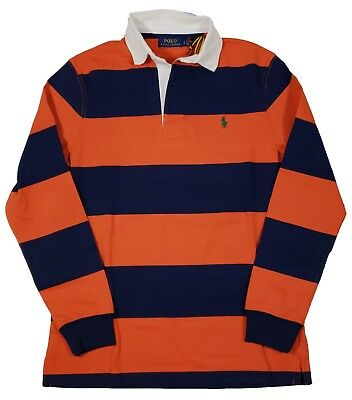 Polo Ralph Lauren Men's Orange/Navy Stripe Iconic Rugby Classic Fit Polo Shirt