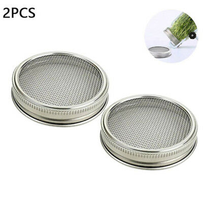 2pcs 3.3 inches Stainless Steel Strainer Sprouting Cover Lid for Seed Jar Sprout