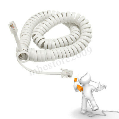 2M Telephone Handset Cable Curly Cord RJ10 Coiled Phone Lead Extension White /