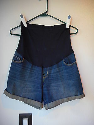 NEW Liz Lange Maternity Shorts size XS Blue Tummy Panel Blue Denim Cuffed Hem