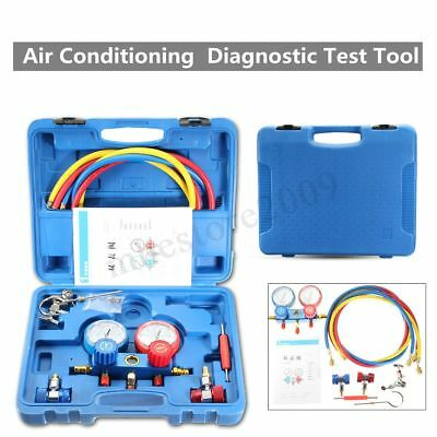 Air Conditioning Pressure Manifold Gauge Hose Kit For R134A R22 Refrigerant /