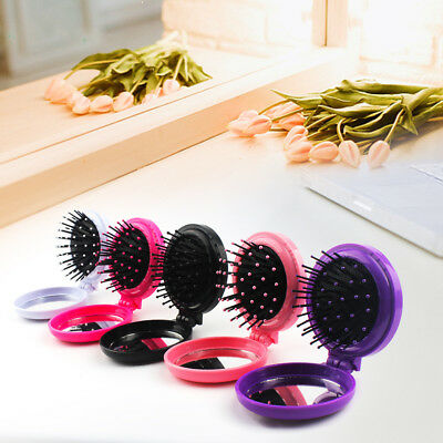 Folding Hair Brush Pocket Comb With Mirror Set Mini Travel Compact Foldable Gift