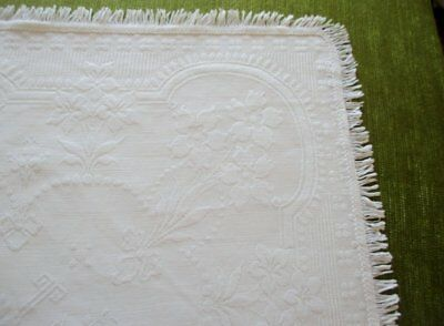 """Antique Marcella Chest/cot Cover With Fringe - 30"""" X 45"""""""