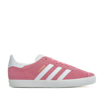 9eab54b7367e6 Junior Girls adidas Originals Gazelle Trainers In Pink- Lace Fastening-  Padded