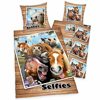 Horse Selfies Single Duvet Cover Set European Cotton Childrens - 2 In 1 Design