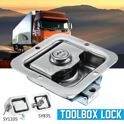 Stainless Steel Paddle Door Lock Latch Handle Truck Tool Box Trailer With 2 Keys