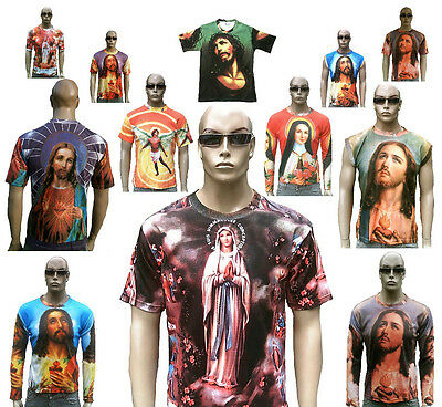 Jesus Christ Ave Maria Angel Religion Tattoo Pattern Designer T-Shirt