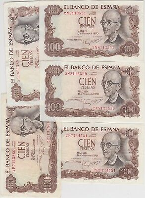 FIVE SPAIN P152a 100 PTS BANKNOTES 1970 IN EXTREMELY FINE OR BETTER CONDITION