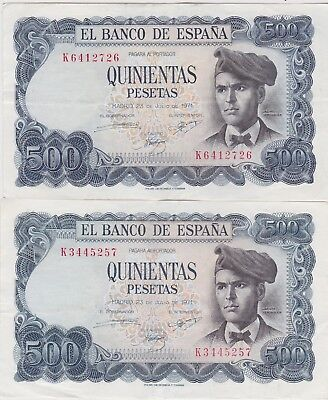 TWO SPAIN P153a 500 PTS BANKNOTES 1971 IN EXTREMELY FINE OR BETTER CONDITION