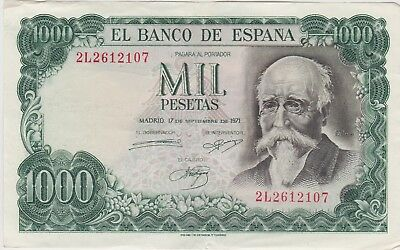 Spain P154 1000 Pesetas Banknote 1971 In Extremely Fine Condition