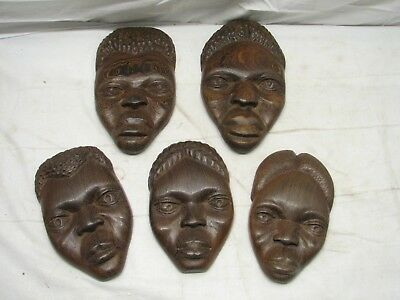 5 Vintage Hand Carved Decorative African Tribal Exotic Wooden Face Wall Plaque