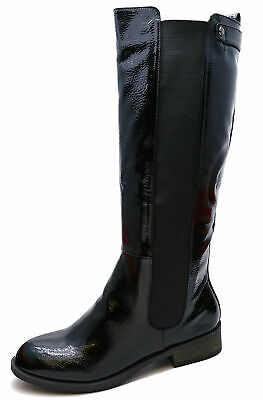 Ladies Black Patent Stretch Zip-Up Knee-High Tall Riding Boots Comfy Shoes 3-8