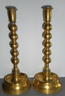 Fine Pair Antique Trumpet Base Brass Candle Sticks Victorian or Georgian