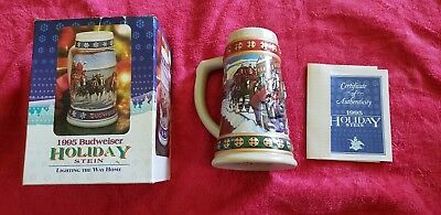 1995 Budweiser Holiday Stein Annual Clydesdale Christmas Beer Mug With COA New