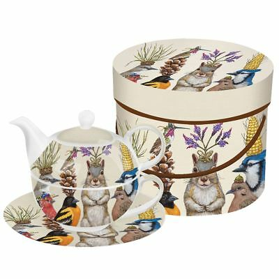 Boxed Tea Set For One Party Snacks Design by PPD Squirrel & Birds