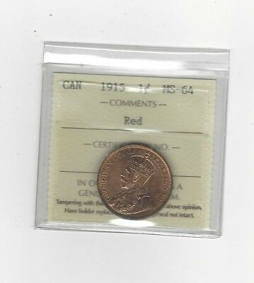 **1915**,ICCS Graded Canadian, Large One Cent, **MS-64**