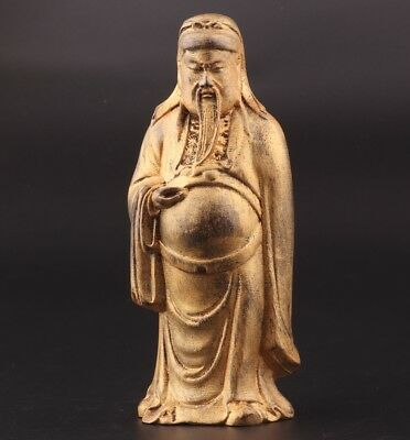 China Precious Gilt Wood Hand-Carved Statue God Wealth Old Antique Collection