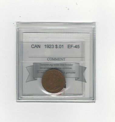 **1923**Coin Mart Graded Canadian Small One Cent, **EF-45**