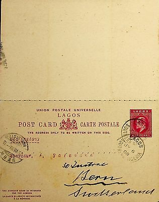 Lagos South Nigeria Africa 1908 Upu Card With Reply To Suisse