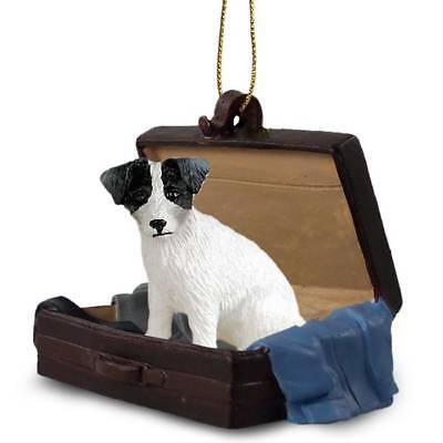Jack Russell BlkWht Rough Traveling Companion Dog Figurine In Suit Case Ornament