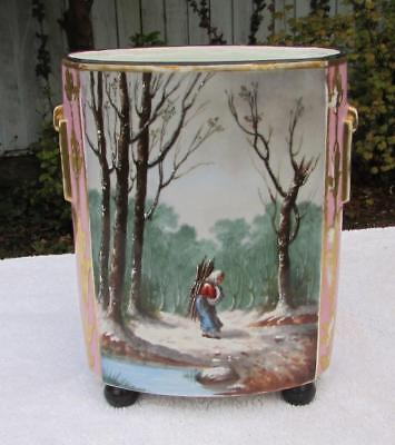 RARE ANTIQUE 19thC PARIS RUSSIAN PORCELAIN VASE . A Winter Landscape