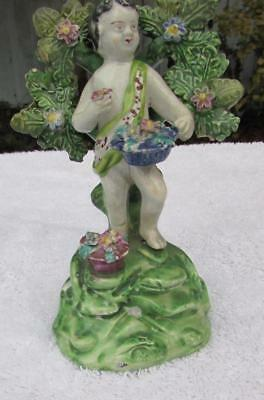 Early 19thC Walton Staffordshire Pearlware Bocage Figure - Putti with Basket