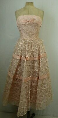 Lorrie Deb Women's Vintage 50's Pink Lace Bow Ornaments Tiered Dress SZ XS