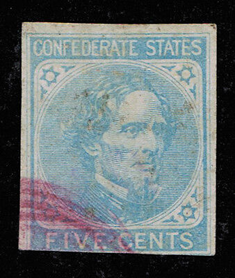 Genuine Confederate Csa Scott #6 Light Blue 5¢ Used Contemporary Red Town Cancel