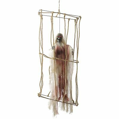 Animated Hanging Caged Skeleton Light Up Movement Halloween Party Decor Prop