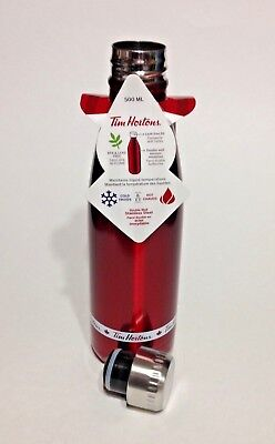 TIM HORTONS Coffee 2017 Stainless Steel Red & White Canada 500 ml Water Bottle