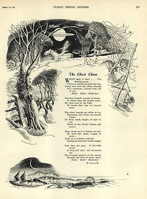 """. De La Mare - Illustrated Poem - """"the Ghost Chase"""" - By Emett -  Punch 1941"""
