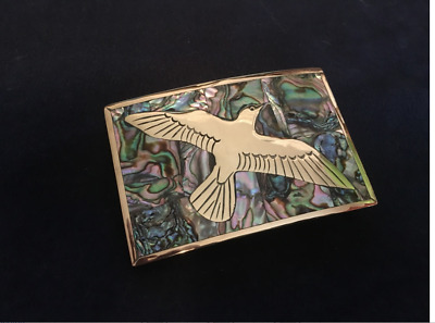 Inlaid Mother Of Pearl Brass Belt Buckle