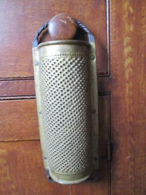Vintage/Antique Hand Punched Brass & Wrought Iron Food Grater - wall hanger