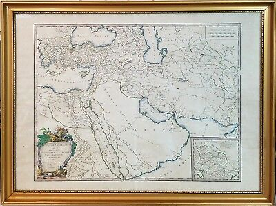 ANTIQUE 18th C. 1753 ENGRAVED MAP ROBERT VAUGONDY, EMPIRE OF ALEXANDER THE GREAT