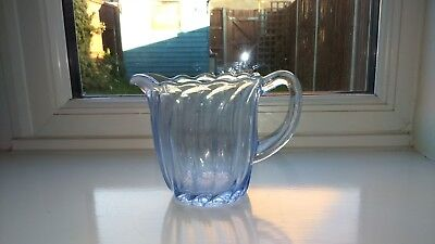Lovely Vintage Art Deco Style Fluted/Rippled Blue Glass Milk/Cream Jug