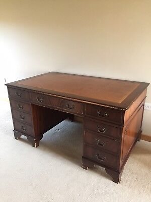 Antique Style Captains Desk Brown Leather Top Very Large Collect Norfolk