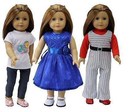 3Sets Handmade Doll Casual Clothes Dress Outfits Pants for 18 inch Girl Dolls
