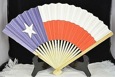 Ladies Hand Held Paper Folding Fan Chile National Flag Collectable