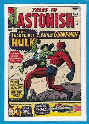 "Tales To Astonish #59_Sept 1964_Vf_""the Incredible Hulk Battles...giant-Man""_Uk!"