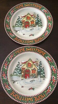 """(2) 10 7/8"""" Mary Engelbreit Dinner Plates 746819 At Home One Sweet Home 2000"""