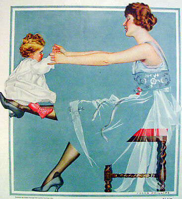 1918 Luxite Hosiery Print Ad - Coles Phillips Artwork – Fadeaway Baby and Mom