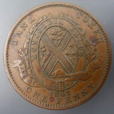 Province of Canada 1842 One Penny 1c One Cent Bank Token