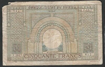 50 Francs From Morocco 1947 Large Size