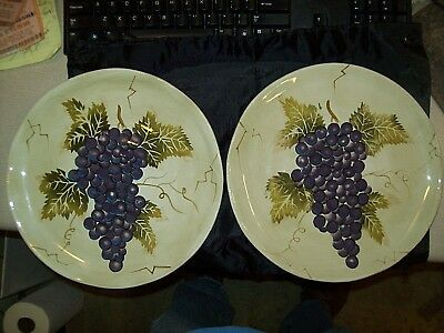 "2 Cabernet Hand Painted Tabletops Unlimited Dinner Plate's 11"" Dia. Pristine!!!!"