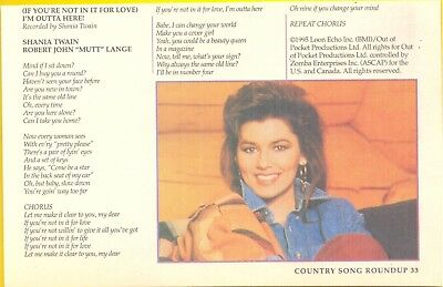 "Shania Twain, Country Music Star in 1996 Magazine Print Clipping. ""Song Roundup"""