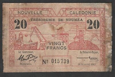 20 Francs From New Caledonia 1943